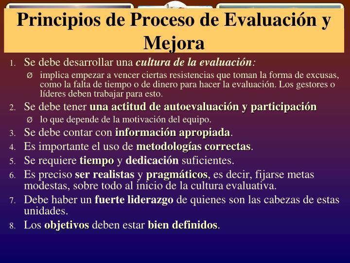 Principios de Proceso de Evaluación y Mejora
