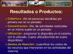 resultados o productos