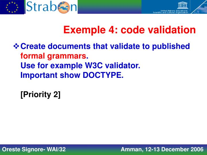 Exemple 4: code validation