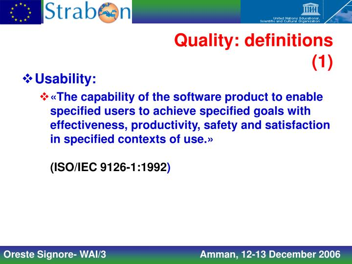 Quality: definitions