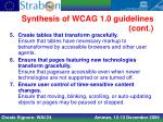 synthesis of wcag 1 0 guidelines cont