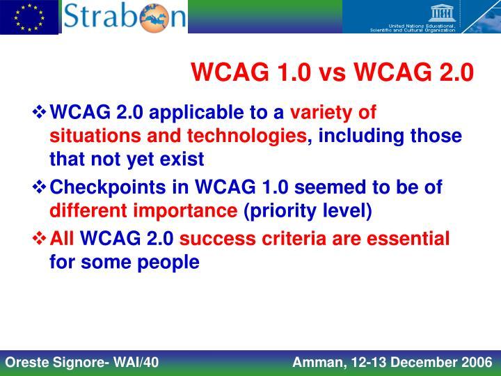 WCAG 1.0 vs WCAG 2.0