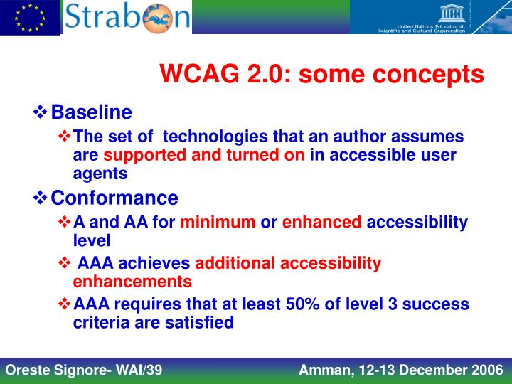 WCAG 2.0: some concepts