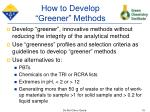 how to develop greener methods