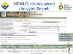 nemi quick advanced analyte search