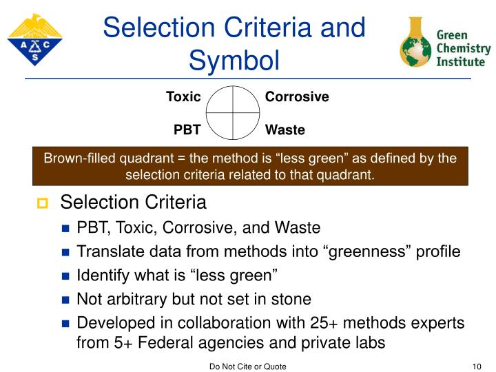 Selection Criteria and Symbol