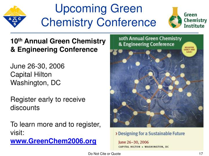 Upcoming Green Chemistry Conference