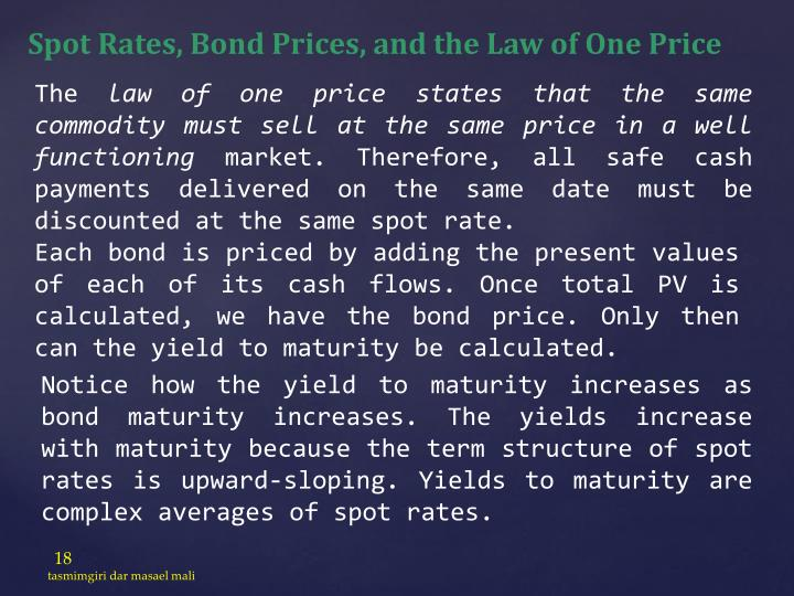 Spot Rates, Bond Prices, and the Law of One Price