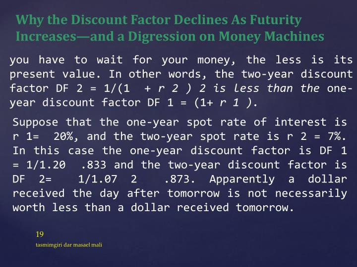 Why the Discount Factor Declines As Futurity Increases—and a Digression on Money Machines