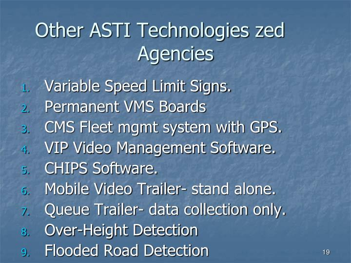 Other ASTI Technologies zed Agencies