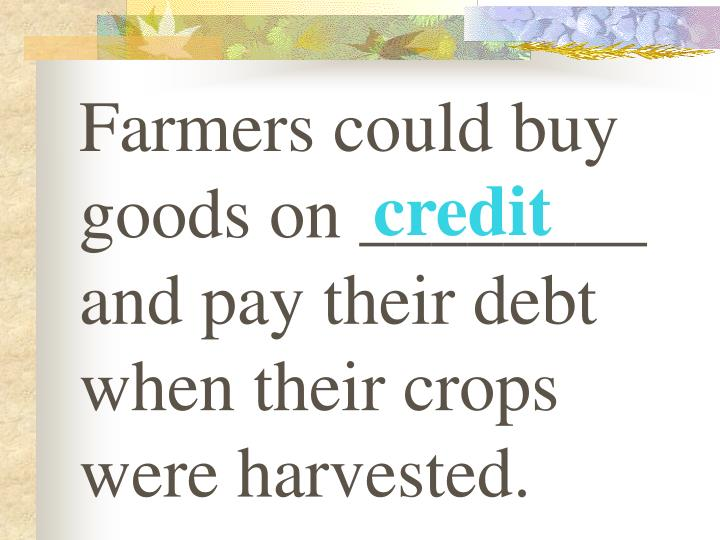 Farmers could buy goods on ________ and pay their debt when their crops were harvested.