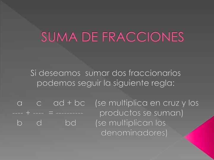 SUMA DE FRACCIONES