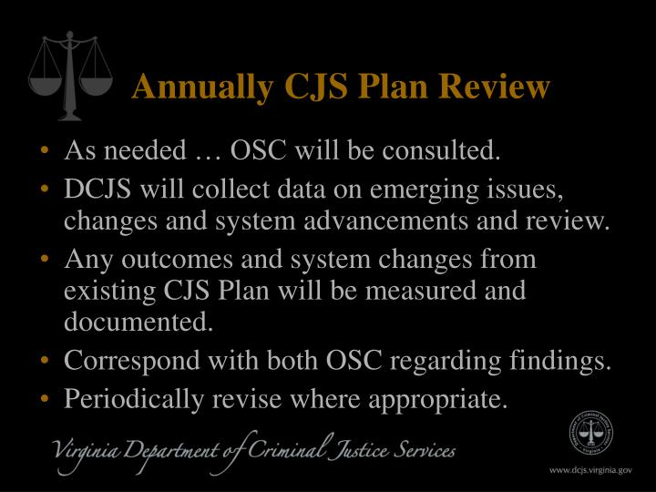 Annually CJS Plan Review