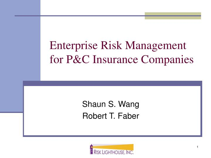 Enterprise risk management for p c insurance companies