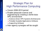 strategic plan for high performance computing