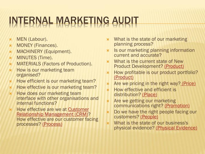 Internal marketing audit