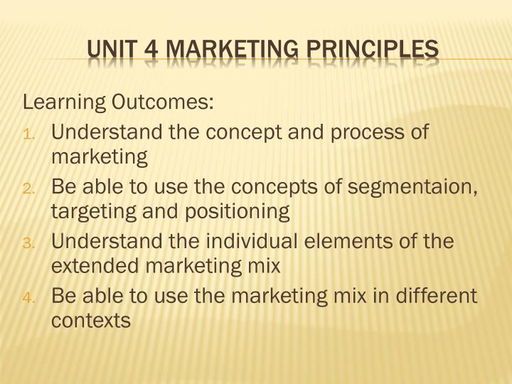 Unit 4 marketing principles