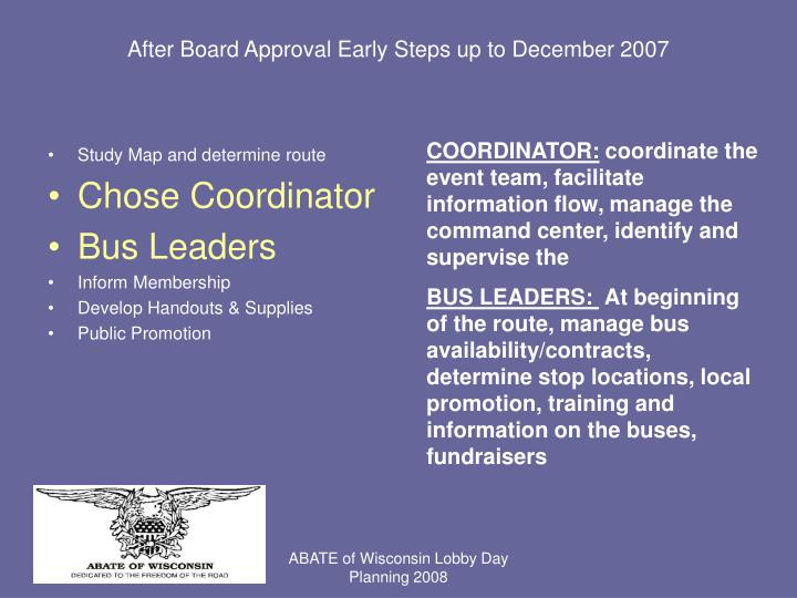 After Board Approval Early Steps up to December 2007