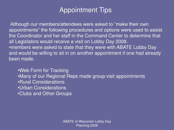 Appointment Tips