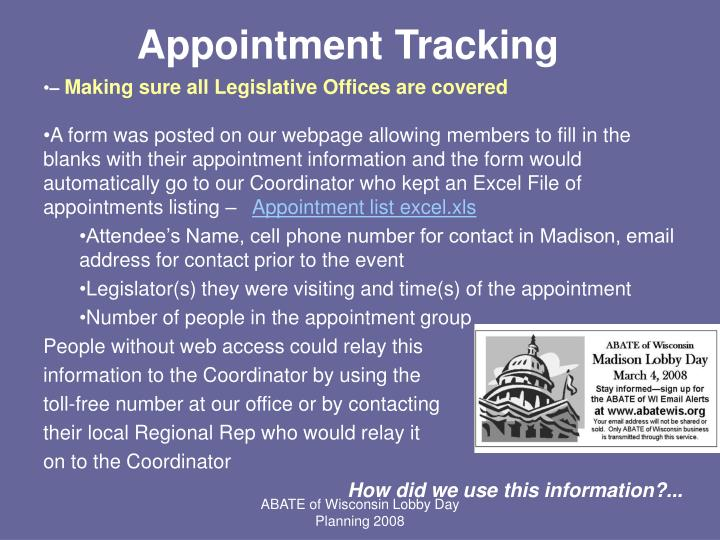 Appointment Tracking
