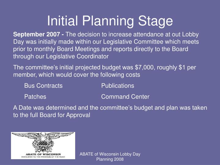 Initial Planning Stage