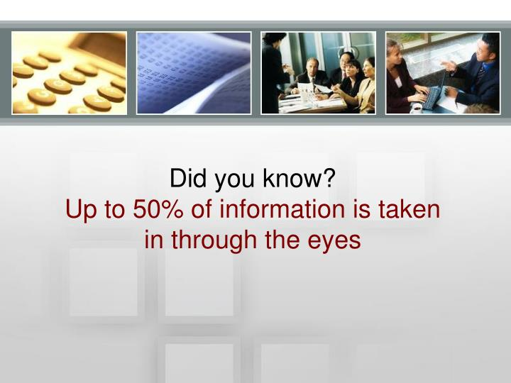 Did you know up to 50 of information is taken in through the eyes