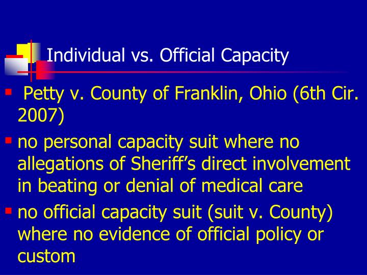 Individual vs. Official Capacity