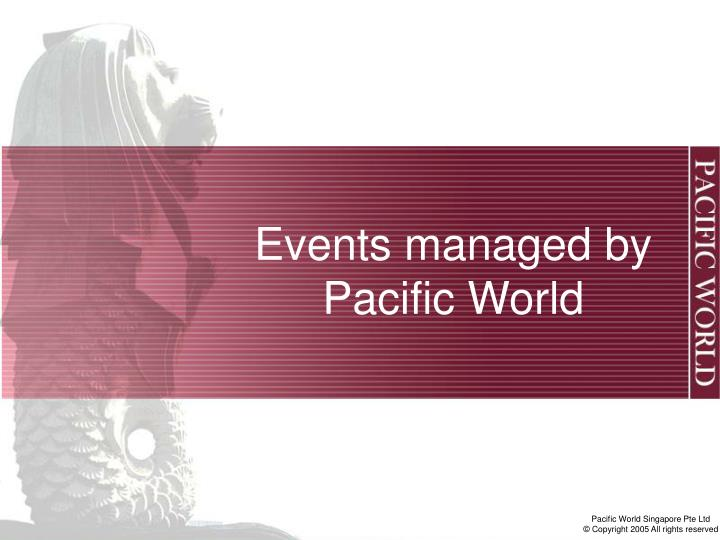 Events managed by