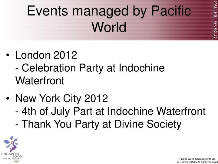Events managed by Pacific World
