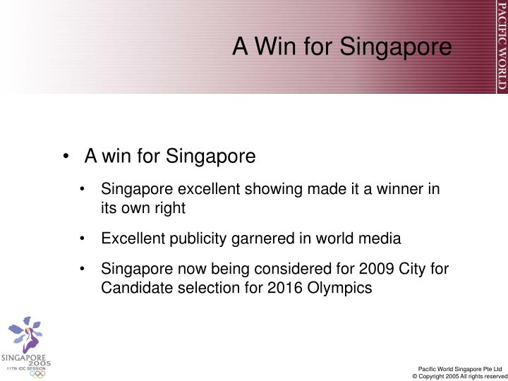 A Win for Singapore