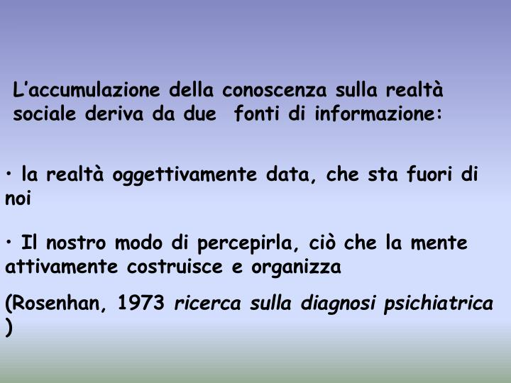 L'accumulazione della conoscenza sulla realtà sociale deriva da due  fonti di informazione: