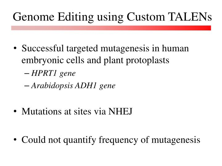 Genome Editing using Custom TALENs
