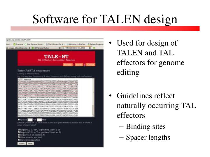 Software for TALEN design