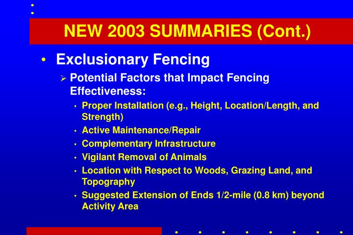 NEW 2003 SUMMARIES (Cont.)