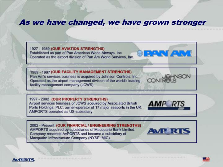 As we have changed, we have grown stronger