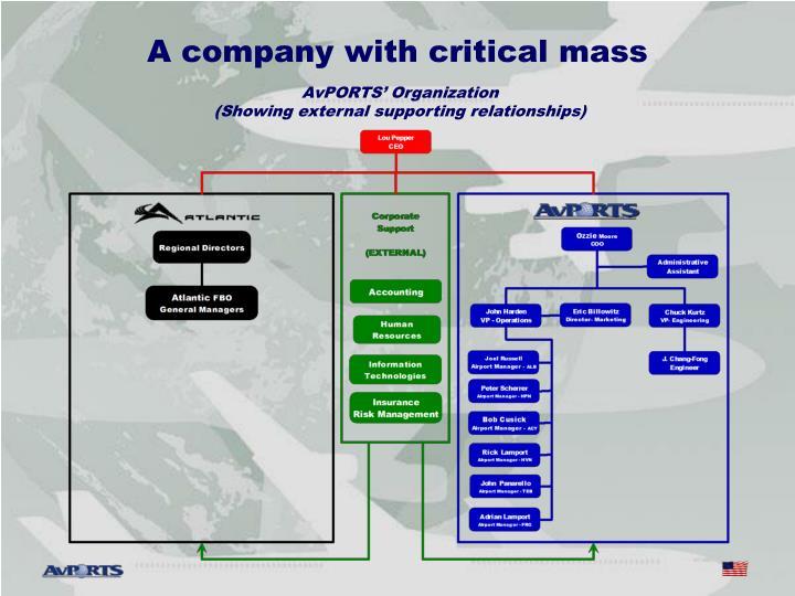 A company with critical mass