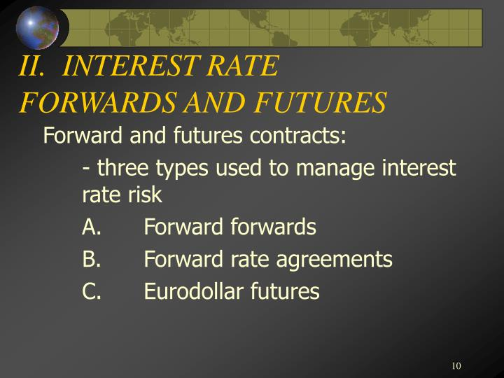 II.  INTEREST RATE FORWARDS AND FUTURES