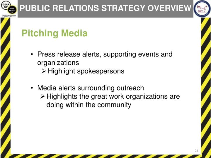 PUBLIC RELATIONS STRATEGY OVERVIEW