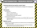 the foundation research report