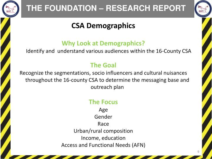 THE FOUNDATION – RESEARCH REPORT