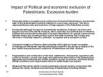 impact of political and economic exclusion of palestinians excessive burden