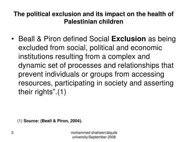 The political exclusion and its impact on the health of palestinian children
