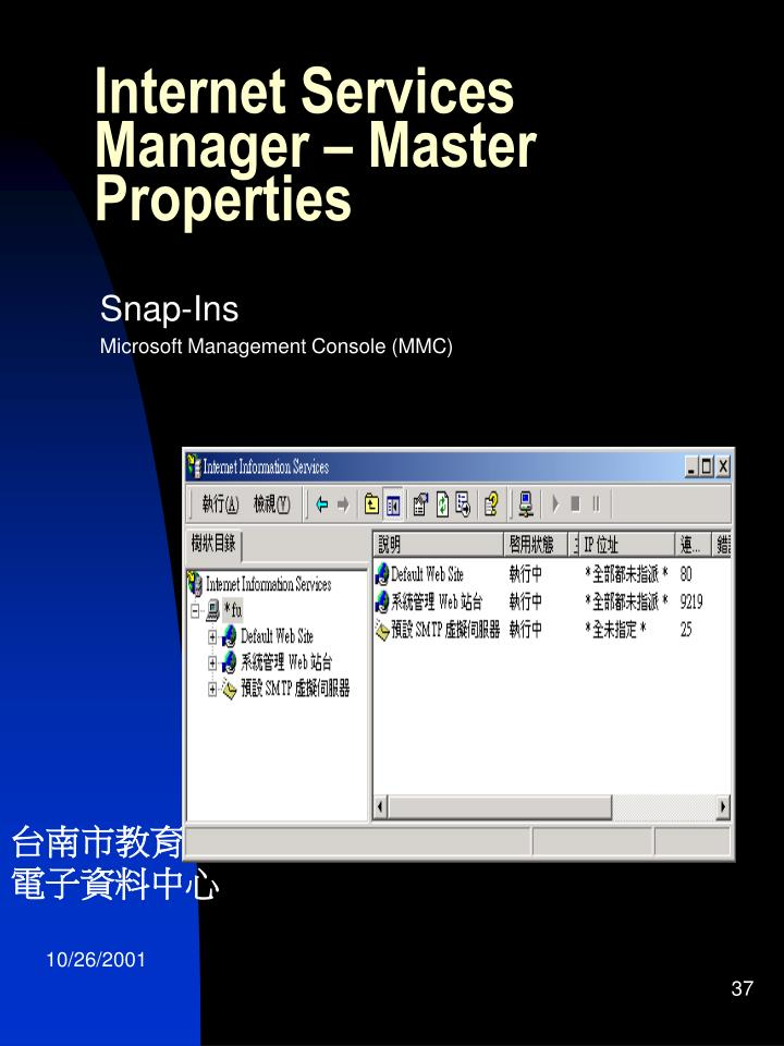Internet Services Manager – Master Properties