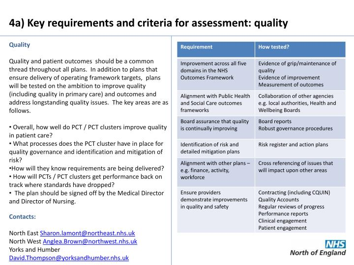 4a) Key requirements and criteria for assessment: quality