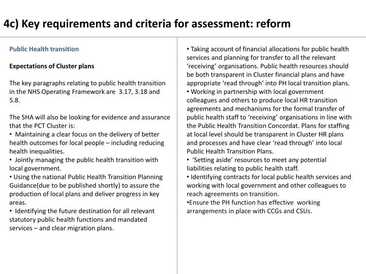 4c) Key requirements and criteria for assessment: reform