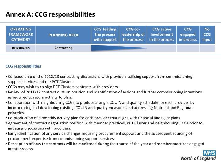 Annex A: CCG responsibilities