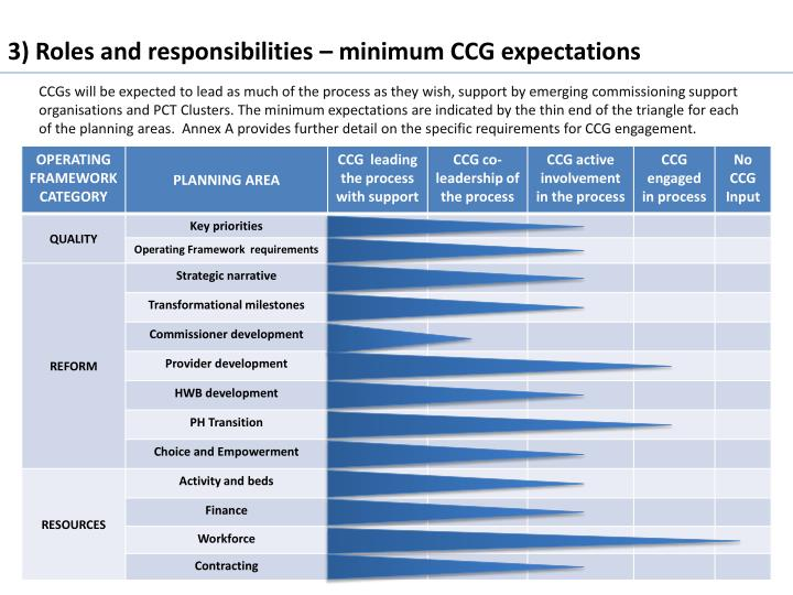 3) Roles and responsibilities – minimum CCG expectations