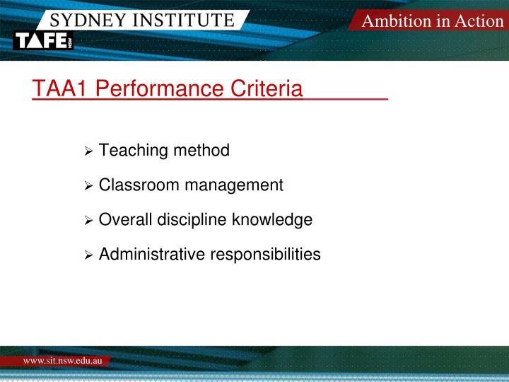 TAA1 Performance Criteria