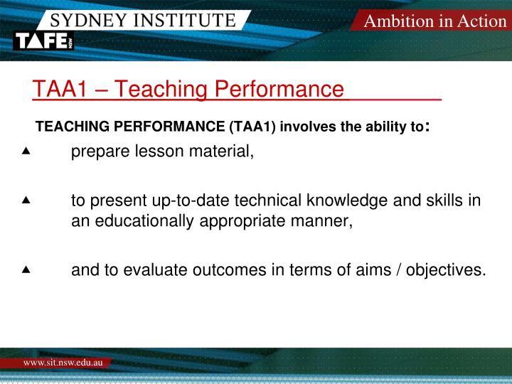 TAA1 – Teaching Performance