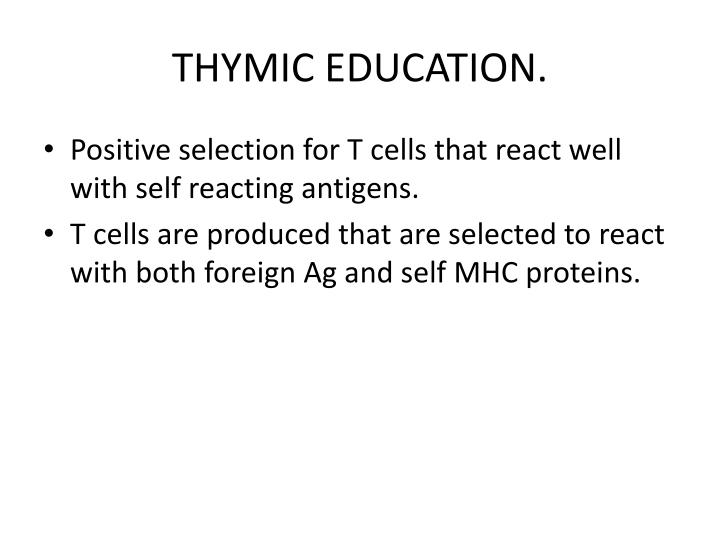 THYMIC EDUCATION.